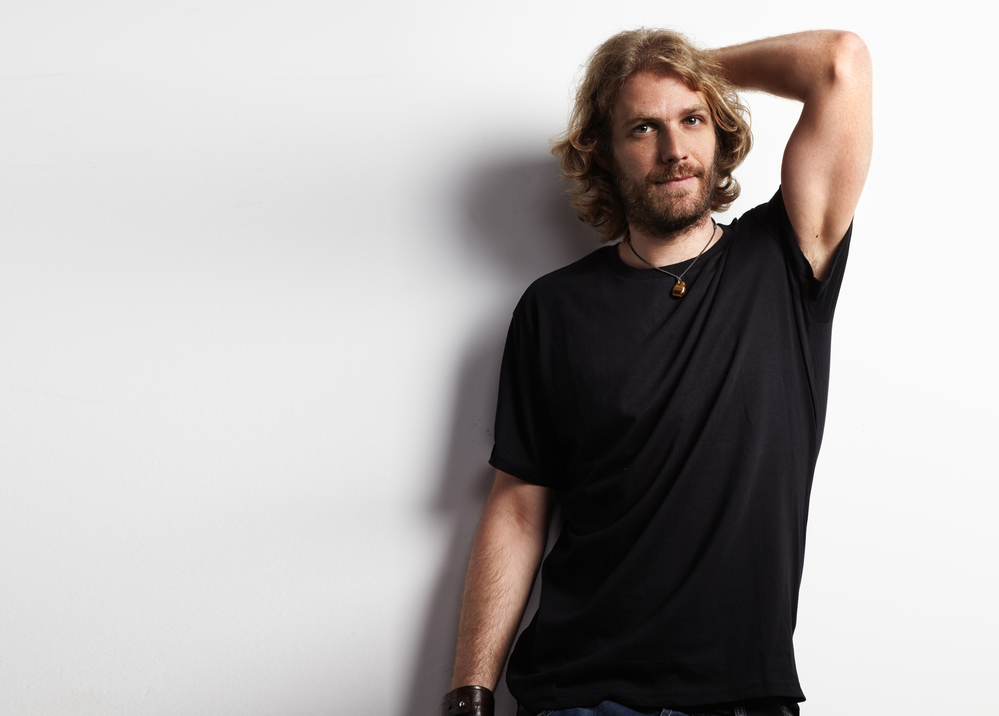 man in a black t-shirt