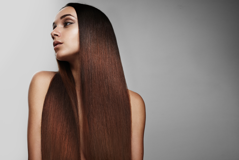 woman with redhead ideal straight hair